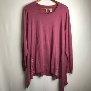 Logo Lori Goldstein lace hem mauve long sleeve